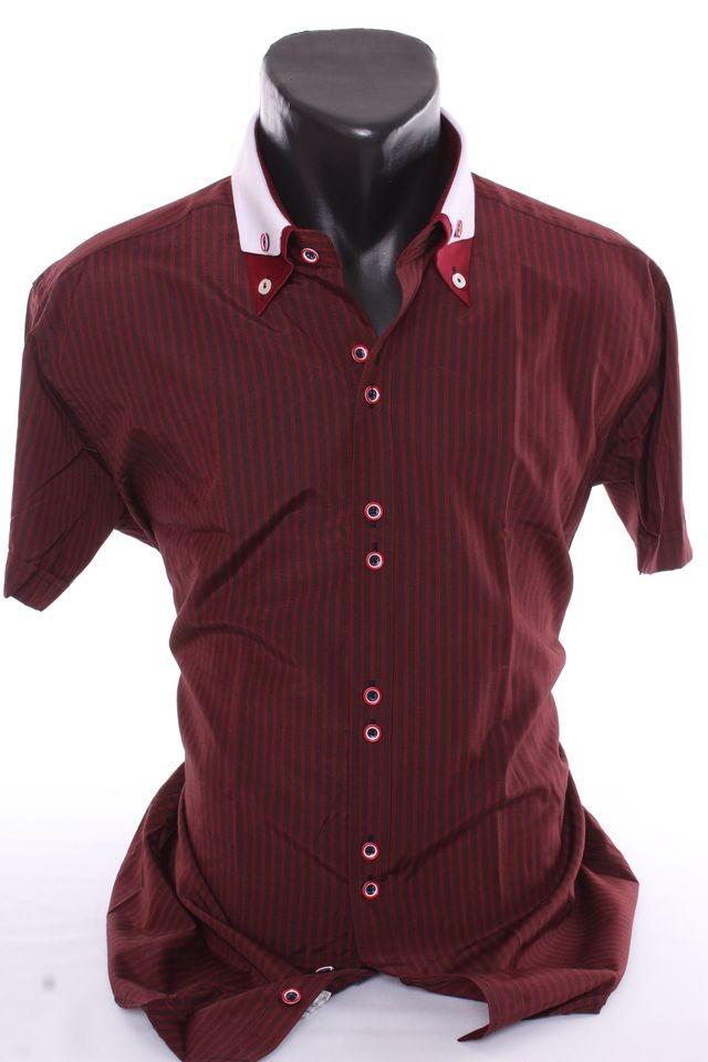 43066a4368c1 Pánska košeľa s čiernymi pásikmi a s bielym golierom (SLIM FIT) - bordová