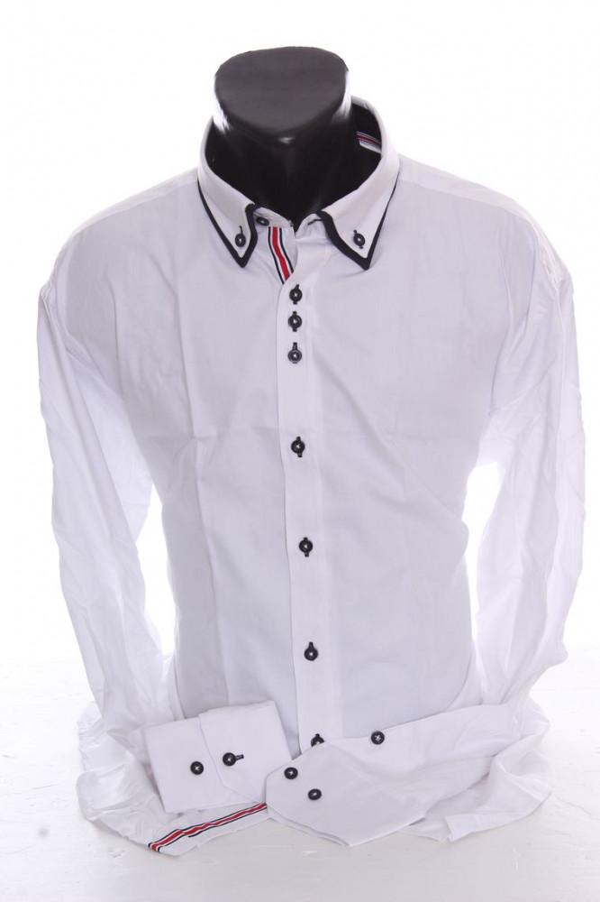4ed965afe729 Pánska košeľa s dlhým rukávom a tmavomodrým lemovaním SLIM FIT - biela