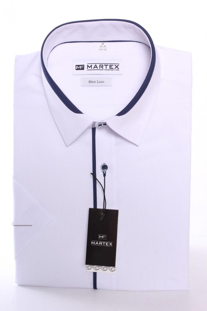 Pánska košeľa s krátkym rukávom a tmavomodrým lemom MARTEX SLIM LINE - biela