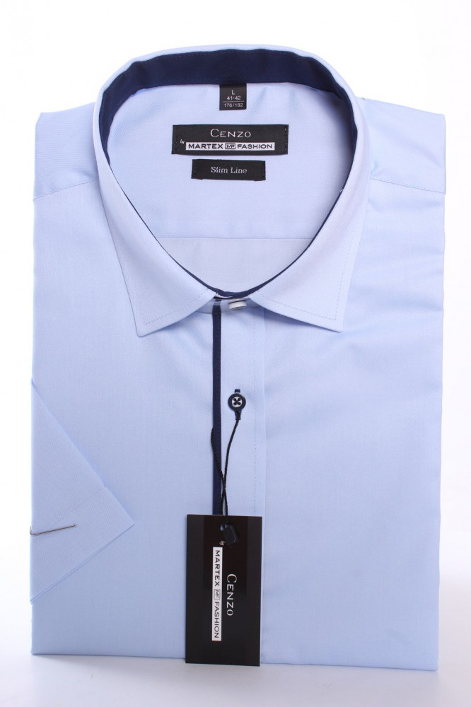 Pánska košeľa s krátkym rukávom a tmavomodrým lemom MARTEX SLIM LINE - bledomodrá