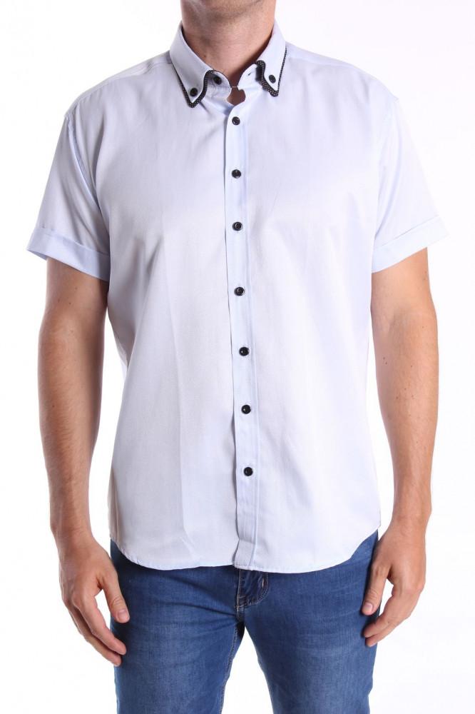 Pánska košeľa s krátkym rukávom, s čiernym lemom - bledomodrá