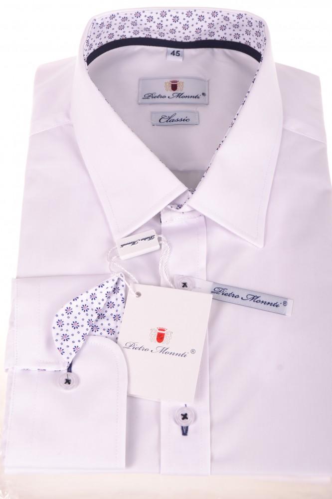 f72e30837c9e Pánska košeľa s kvetinovým lemovaním - biela (CLASSIC) - Pánske ...