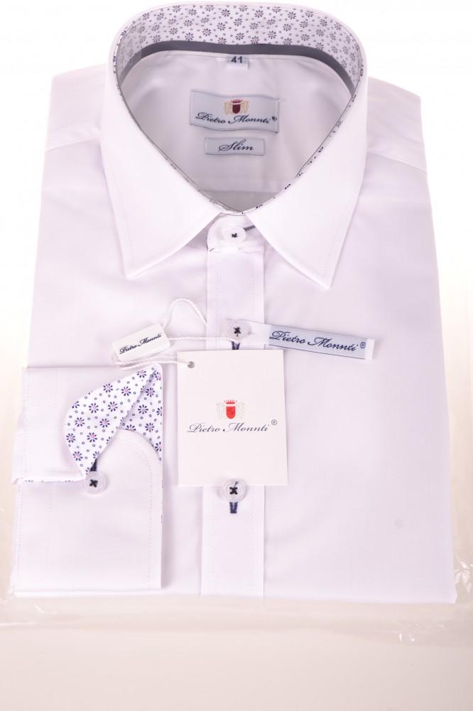 e783ab6fa77f Pánska košeľa s kvetinovým lemovaním - biela (SLIM) - Pánske košele ...