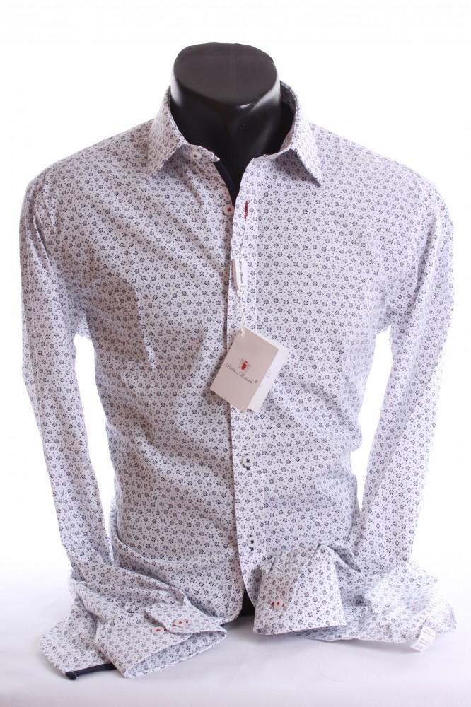 bf3126bef Pánska košeľa s kvetinovým vzorom (SLIM FIT) - biela P17 - Pánske ...