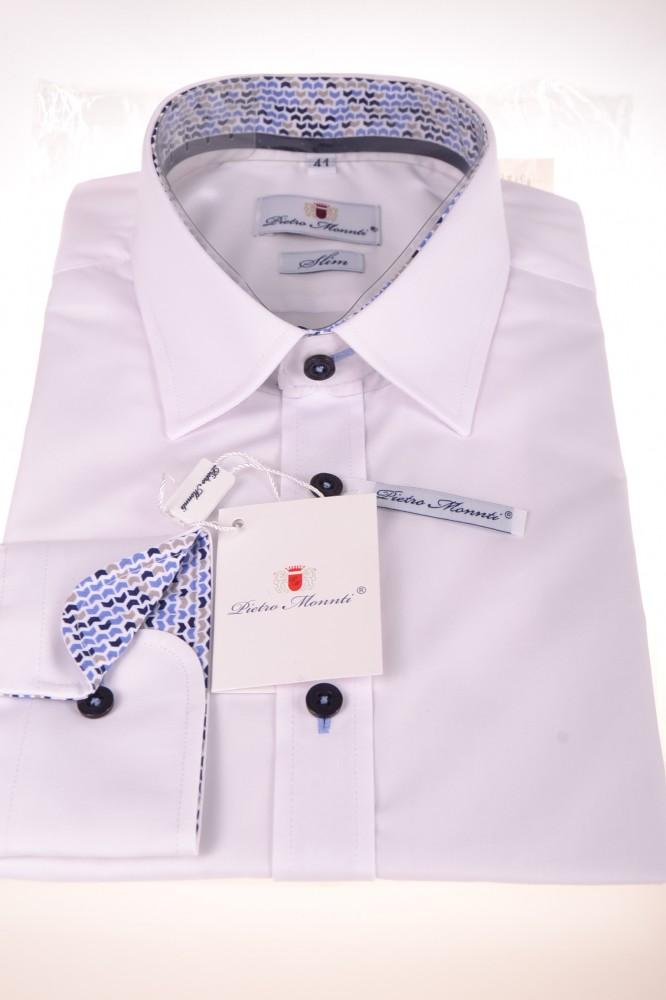 9ecc1164b735 Pánska košeľa s modro-bielym lemovaním - biela (SLIM) - Pánske ...