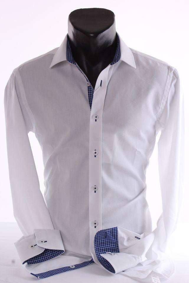 a63c4e008dd7 Pánska košeľa s modrobielym lemom - biela (SLIM) v  176-182 - Pánske ...