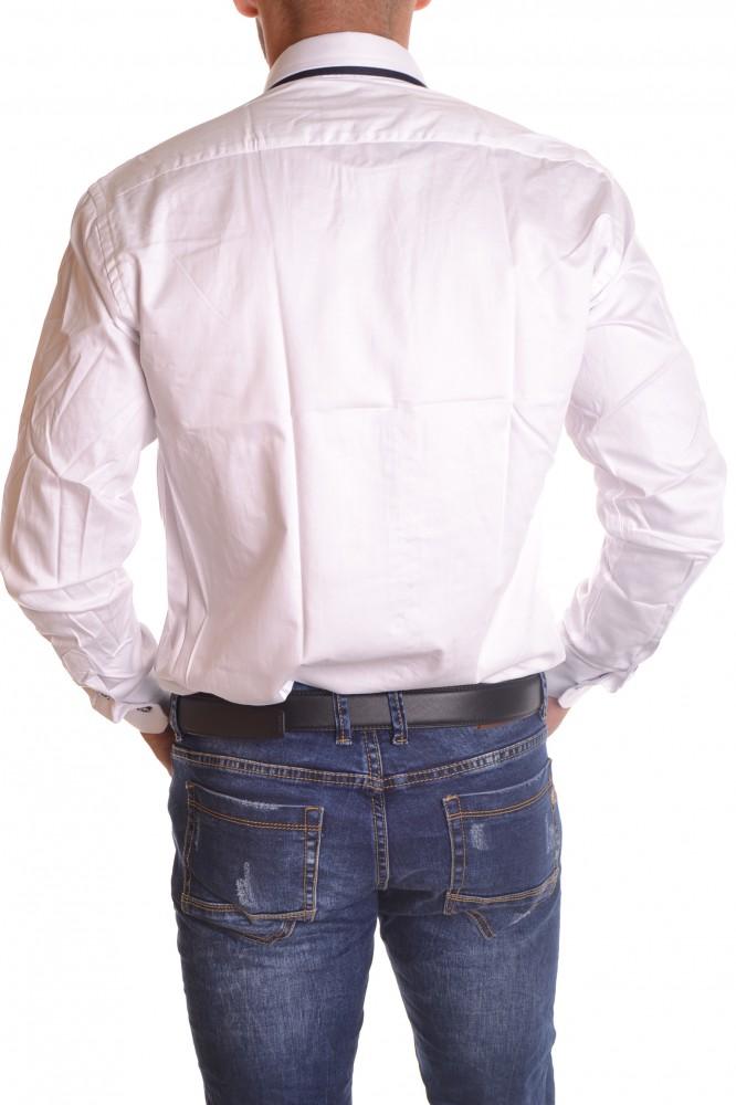7142dd94b66e Pánska košeľa s tmavomodrým lemovaním - biela SLIM FIT - Pánske ...