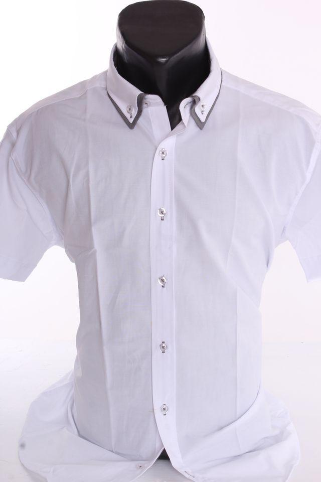 214050994eec Pánska košeľa so sivým lemom - biela (SLIM FIT) - Pánske spločenské ...
