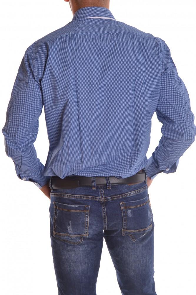 f3f15a518ebf Pánska košeľa vzorovaná 1. s bielym lemovaním - modrá SLIM FIT ...