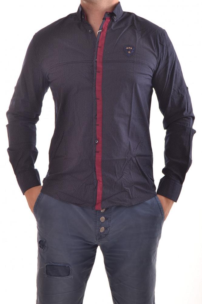 c09db0b225ca Pánska košeľa vzorovaná s bordovým lemom - tmavomodrá P3 - Pánske ...
