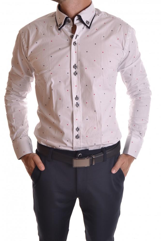 fd87a05c0 Pánska košeľa vzorovaná s tmavomodrým lemovaním - biela SLIM FIT ...