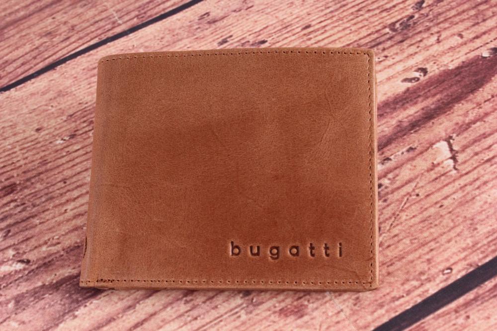 Pánska kožená peňaženka Bugatti 49218207 (11x1,5x9 cm) - cognac