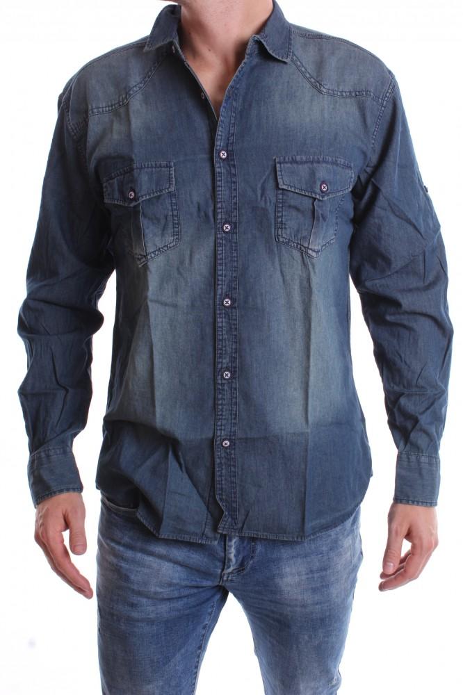 9bbc9f42e7e8 Pánska rifľová košeľa - modrá 2. - Moderné pánske košele - Locca.sk