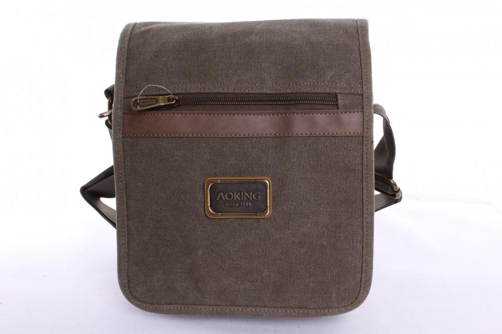 Pánska taška cez plece (TK44239) -zelená (25x22x8 cm)