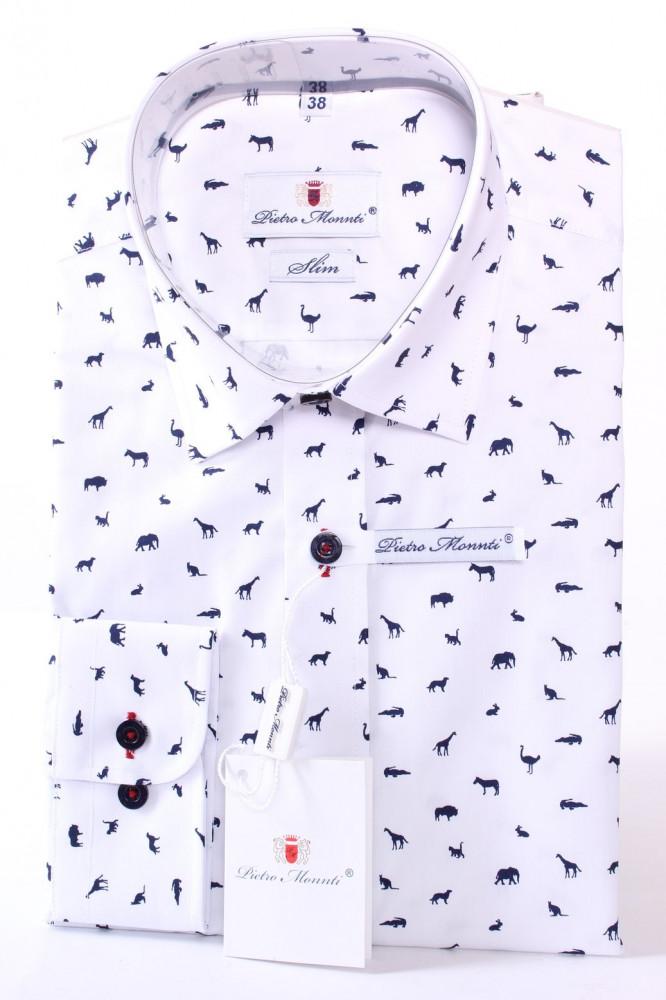 Pánska vzorovaná košeľa PIETRO MONTI CLASSIC - biela