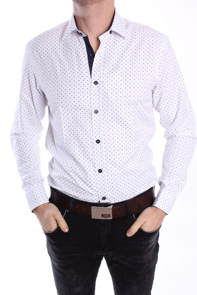 Pánska vzorovaná košeľa PIETRO MONTI VZOR 001. CLASSIC - biela