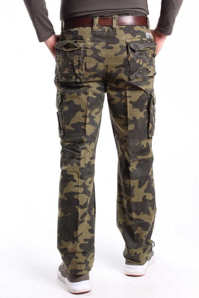 4a73cca89 Pánske ARMY maskáčové nohavice s opaskom LOSHAN (8103-61) - ARMY GREEN Vzor