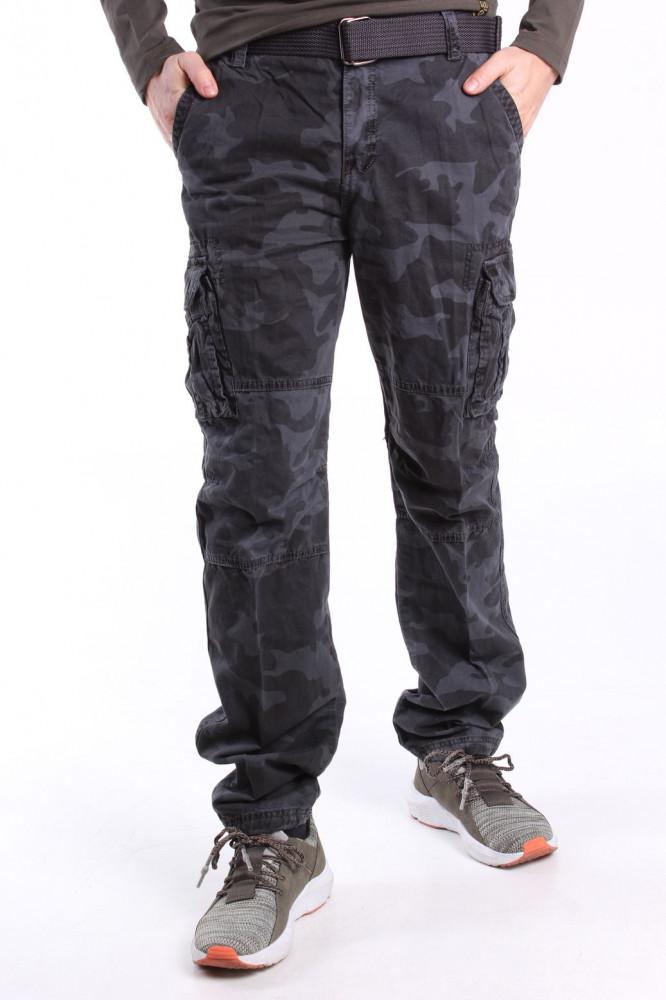 fa571fc2bd Pánske ARMY maskáčové nohavice s vreckami a s opaskom LOSHAN (8103-85) -  MID GREY sivé