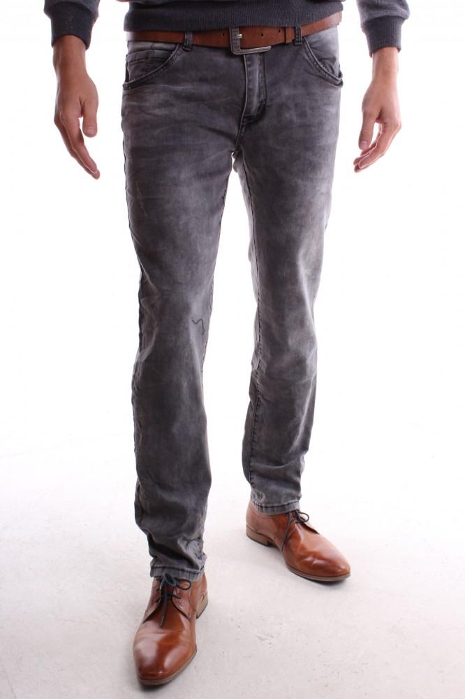 b223ef6cc3a0 Pánske elastické rifľové nohavice s opaskom M.SARA (KA169) - sivé ...