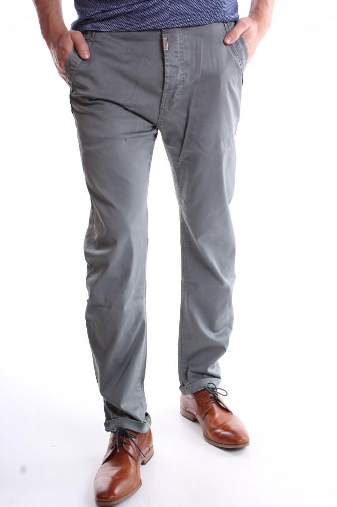22e08cde40c1 Pánske elastické športovo-elegantné nohavice M-SARA (KA8383-180) - zeleno- sivé