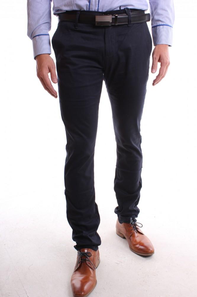 00b1faffda Pánske elastické športovo-elegantné nohavice M-SARA (KA9075-68) - tmavomodré