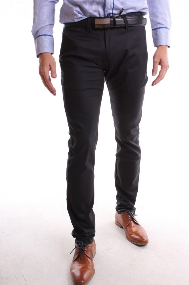 aa14d98fcf92 Pánske elastické športovo-elegantné nohavice MID-POINT (KA139-13) - čierne