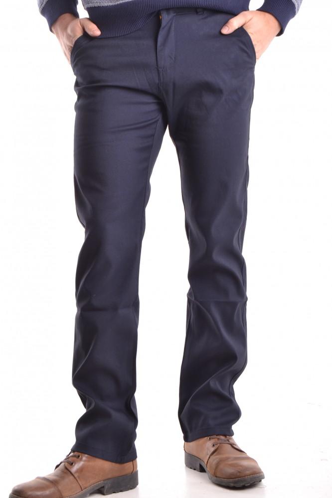 f19197723745 Pánske elastické športovo-elegantné nohavice s jemným pásikom - tmavomodré  P1