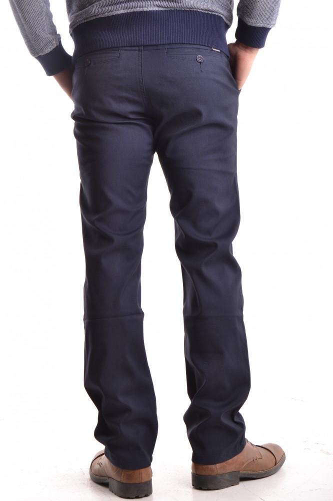 9fa4a389ea55 Pánske elastické športovo-elegantné nohavice s jemným pásikom - tmavomodré  P1  1