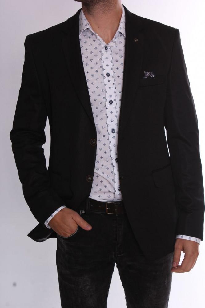 Pánske elastické športovo-elegantné sako CLASSIC (3354) - čierne