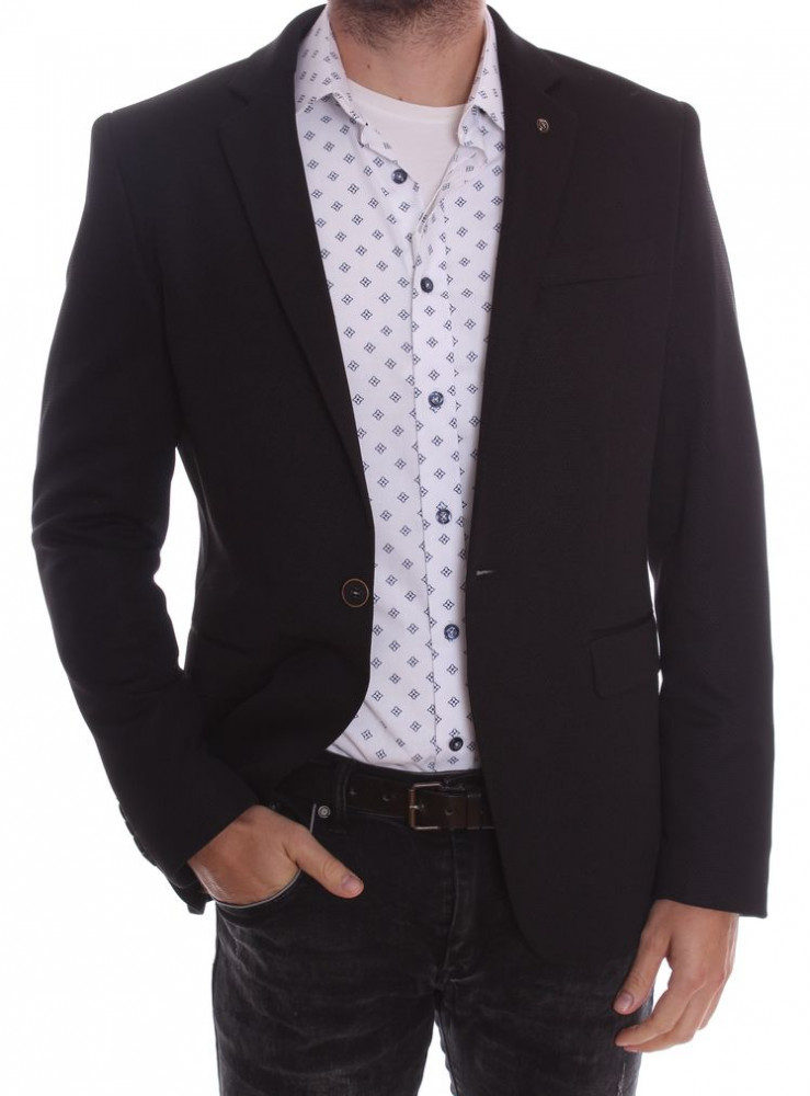 Pánske elastické športovo-elegantné sako SLIM FIT (3358) - čierne