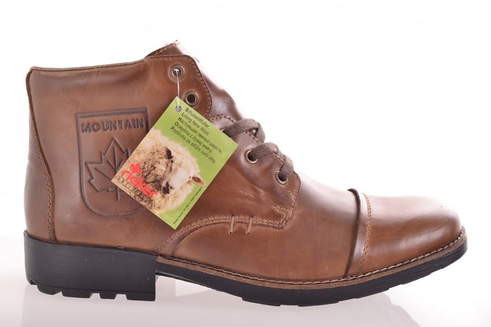 4379d343cb2b Pánske kožené zateplené topánky RIEKER (36010-27) - hnedé - Pánska ...