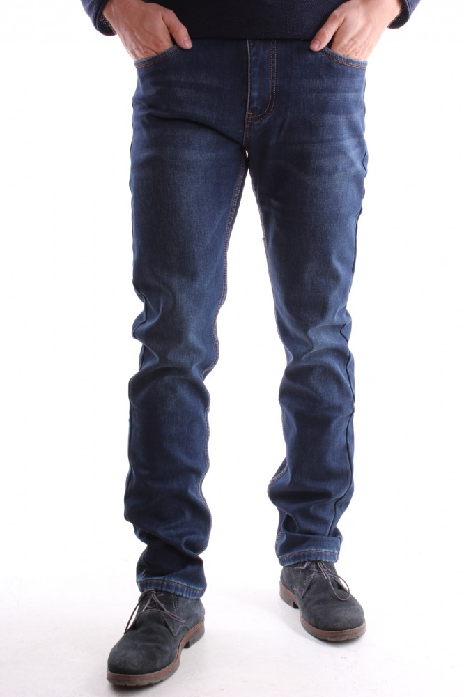 6c87966f1a92 Pánske rifľové zateplené elastické nohavice LONGLI (LF225) - tmavomodré