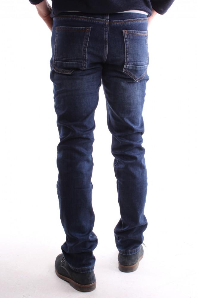 ac8a87efed52 Pánske rifľové zateplené elastické nohavice