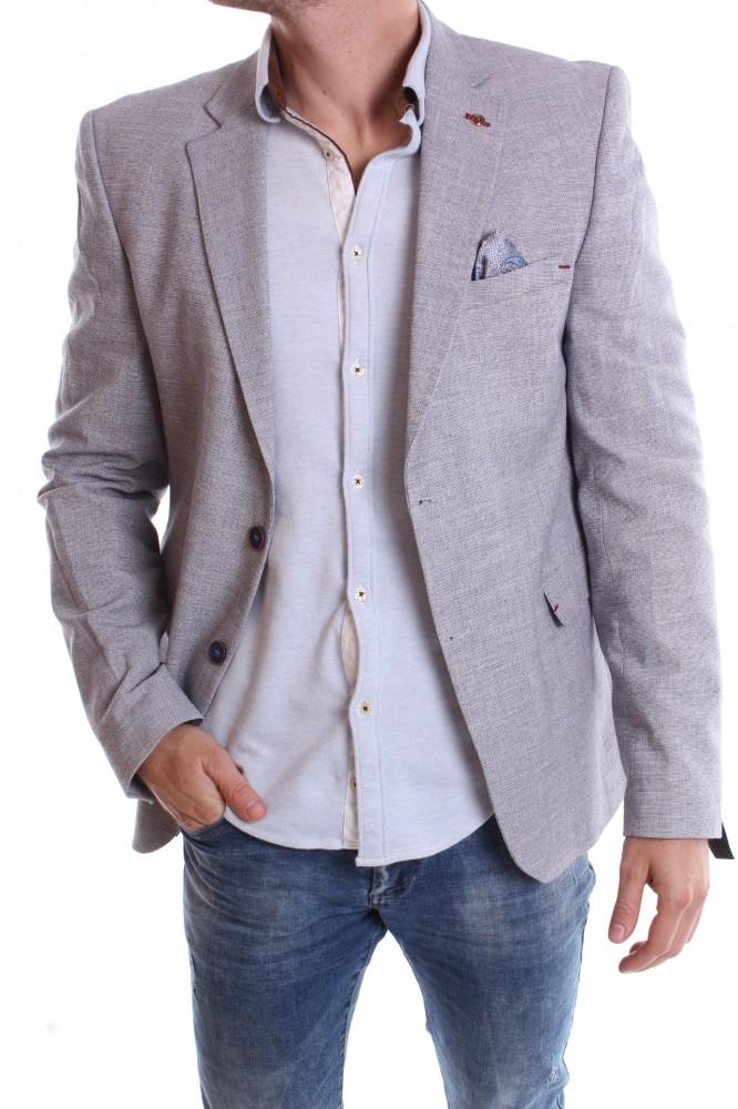 Pánske športovo-elegantné sako melírované VZOR 3331 - bledosivé