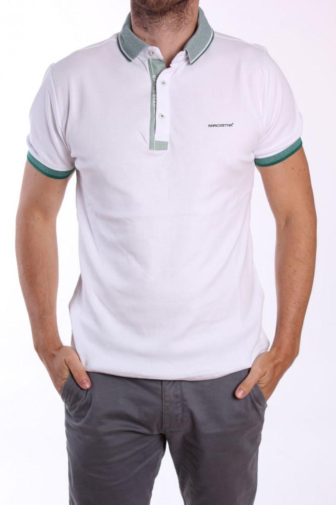 01385edbe970 Pánske tričko s golierom P461 - biele - Pánske tričká - Locca.sk