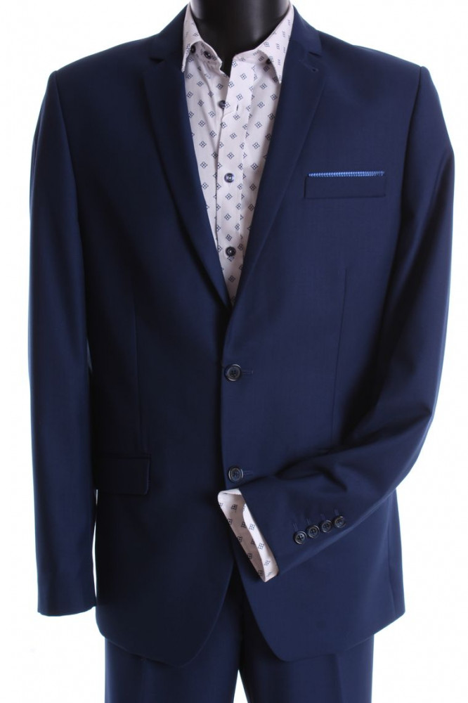 Pánsky oblek EMIL-KLASIK s dvoma rozparkami (v. 188 cm) - kráľovský-modrý