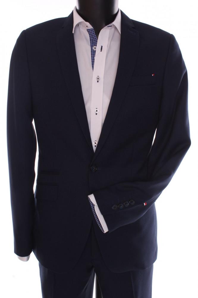 Pánsky oblek SLIM FIT Žaba (v. 176 cm) - čierno-modrý