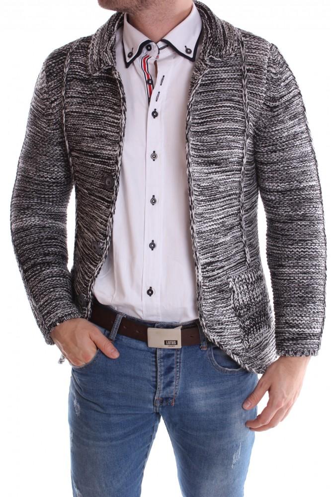 42f96f54fad1 Pánsky pletený sveter melírovaný - čierno-biely - Pánske svetre a ...