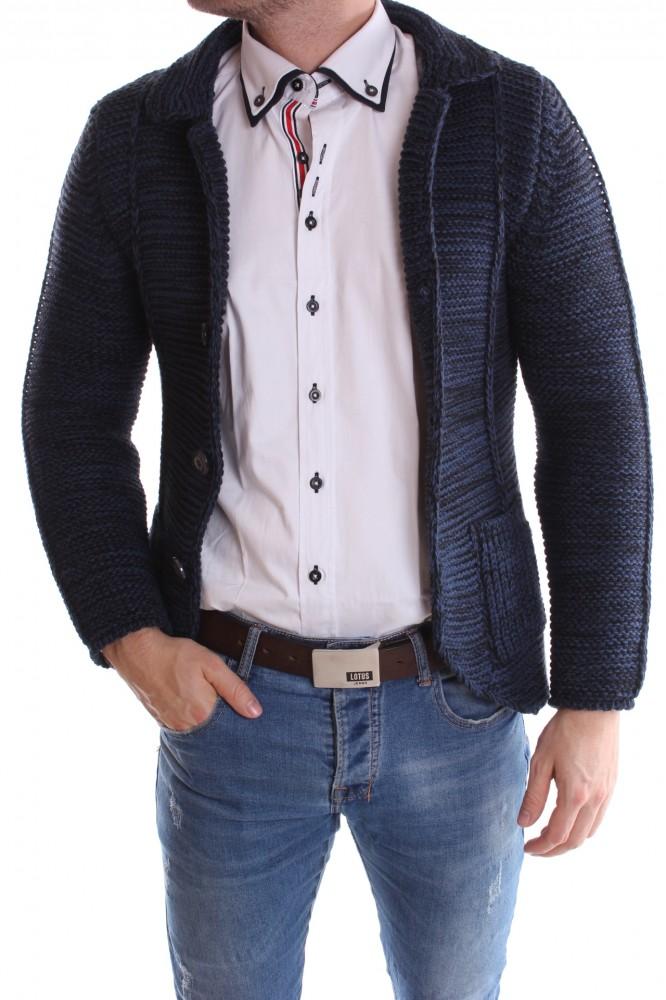 098669ba1433 Pánsky pletený sveter melírovaný - modro-čierny - Pánske svetre a ...