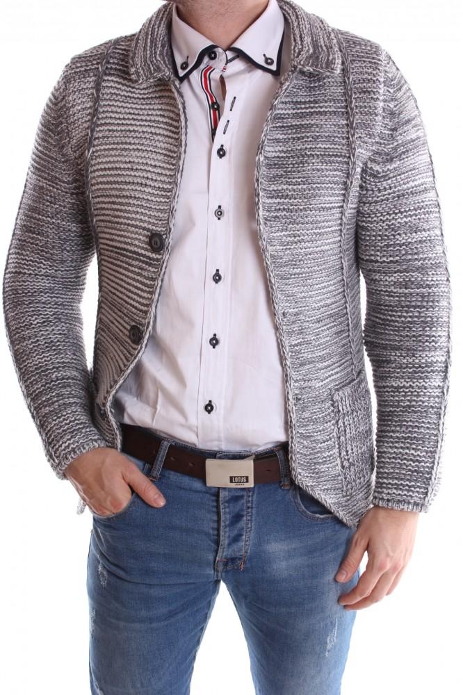 2e3ef8ea6705 Pánsky pletený sveter melírovaný - sivo-biely - Pánske svetre a ...