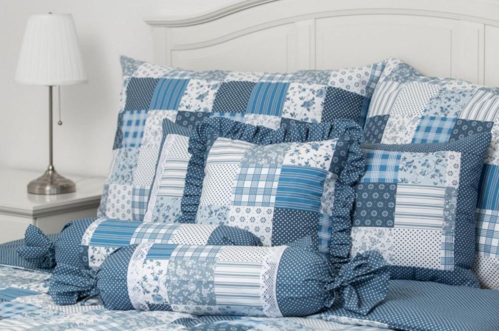 Posteľné obliečky - PATCHWORK modré (2ks 70x90cm, 2ks 140x200cm)