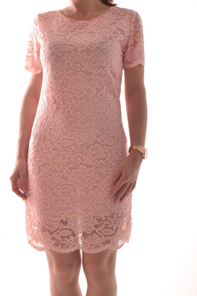 b94a19797315 Šaty elastické s krajkou - bledoružové D3 - Spoločenské