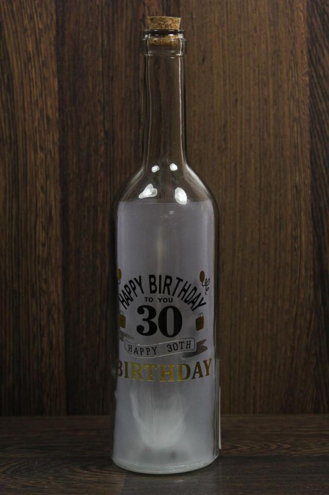 Sklenená fľaša HAPPY 30th s LED žiarovkami