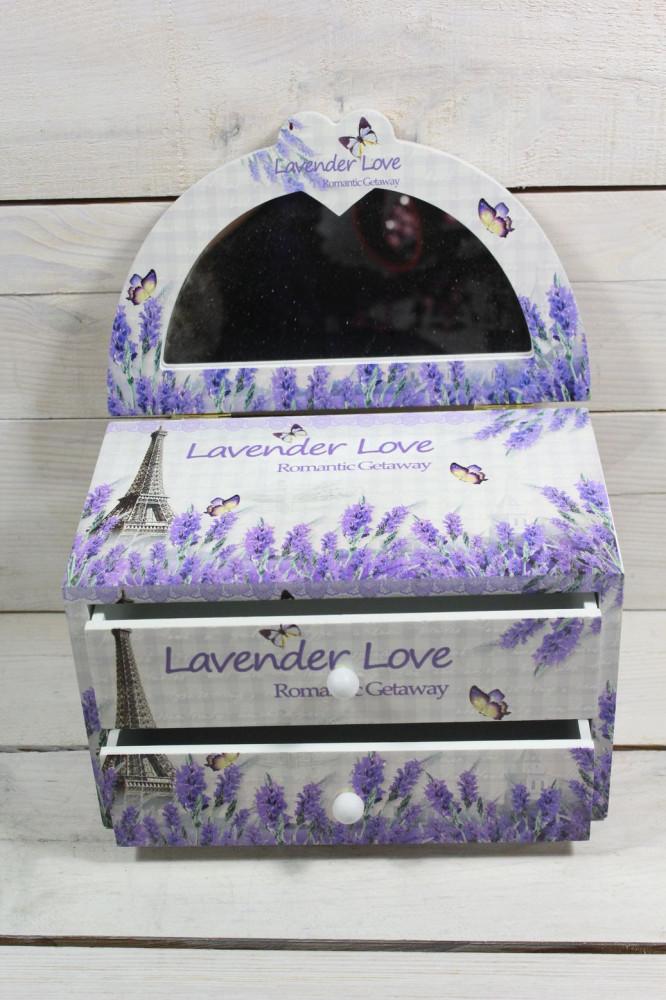 Šperkovnica LAVENDER LOVE s 2 šuflíkmi a zrkadlom (20x13x12 cm)