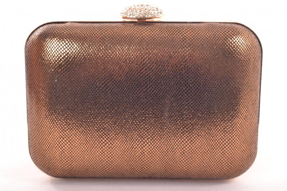 Spoločenská kabelka so štrasovým zapínaním - zlato-hnedá (20x14 cm ... 55e9eef3582