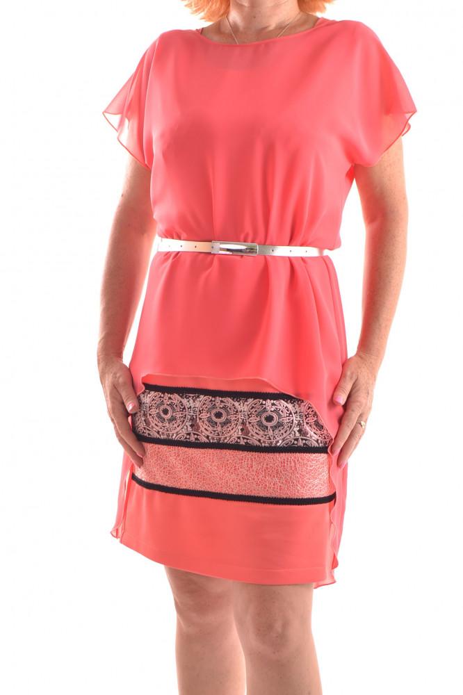 c44d019c582f Spoločenské šaty elastické so silonovou halenkou - oranžové D3 ...