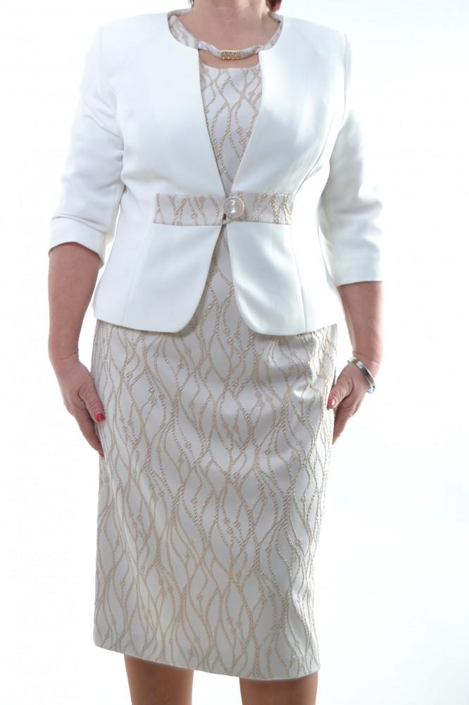 2f9f230fffbd Spoločenské šaty s kabátikom béžové so zlatou ozdobou D3 - Dámske ...