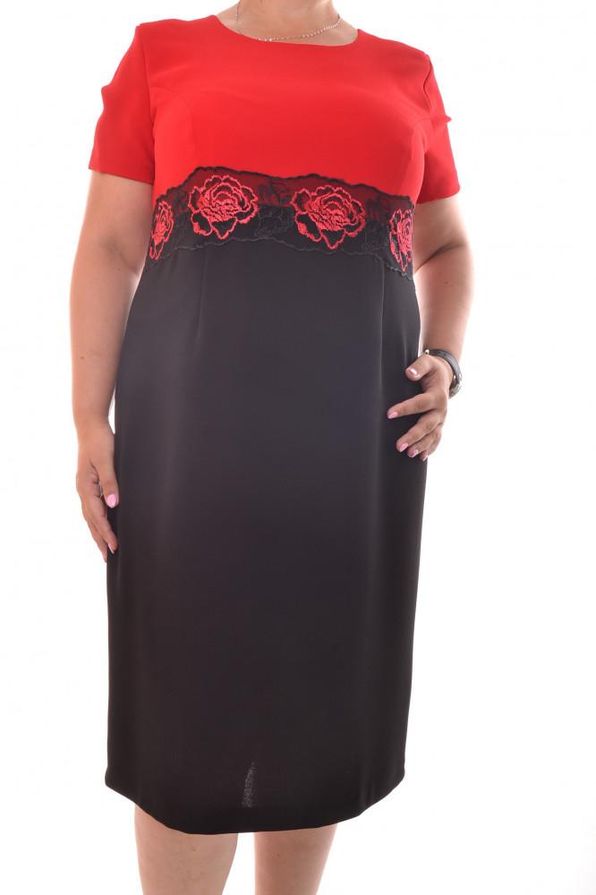 33cdd232d982 Spoločenské šaty s kabátikom zdobené krajkou - čierno-červené D3 ...