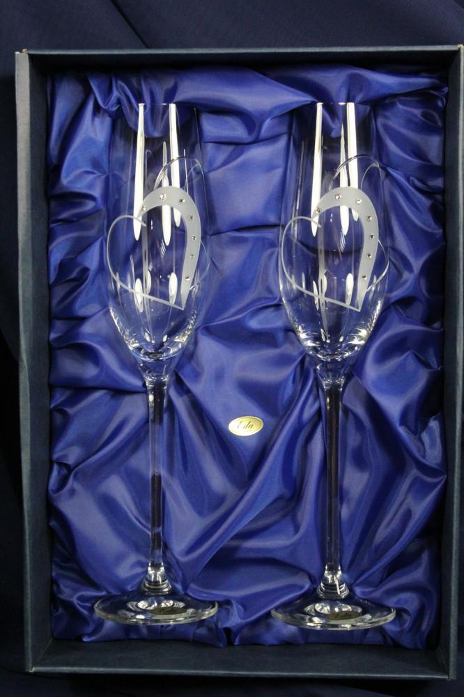 Svadobné poháre na ŠAMPANSKÉ so swarovski krištáľmi (210 ml) VZOR 14.
