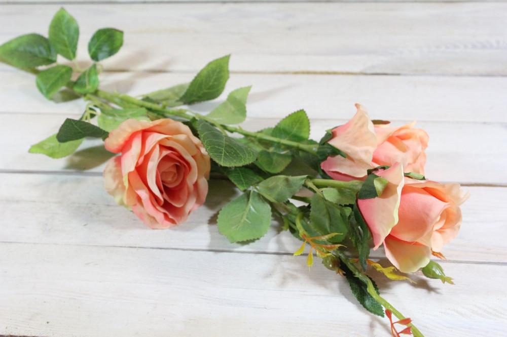 Umelá kytica RUŽÍ - broskyňová (v. 103 cm)